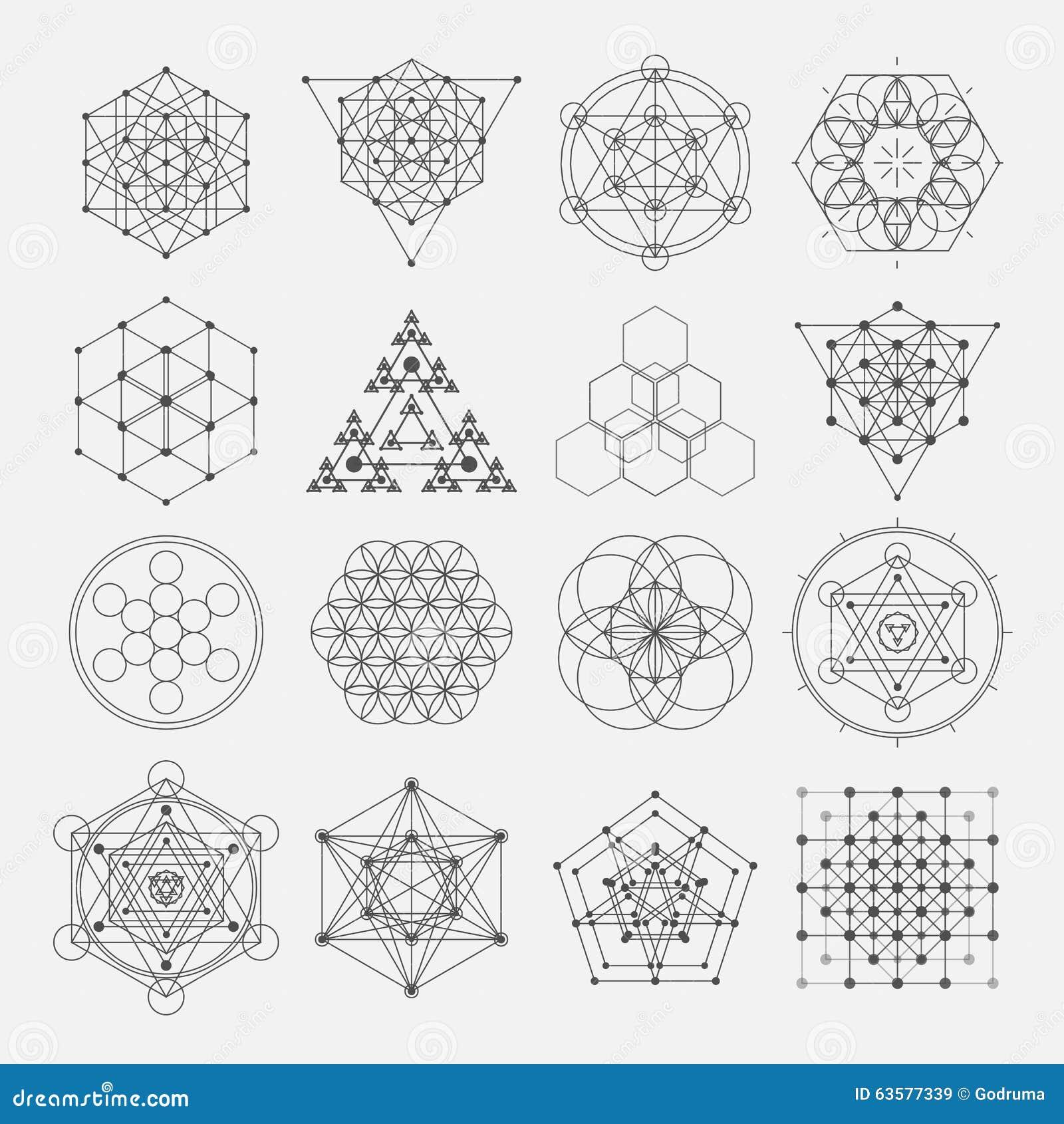 Elementos sagrados del diseño del vector de la geometría alquimia