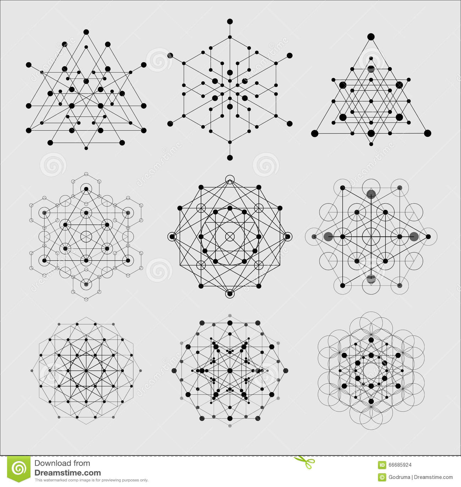 Elementos sagrados del diseño del vector de la geometría Alquimia, religión, filosofía, espiritualidad, símbolos del inconformist