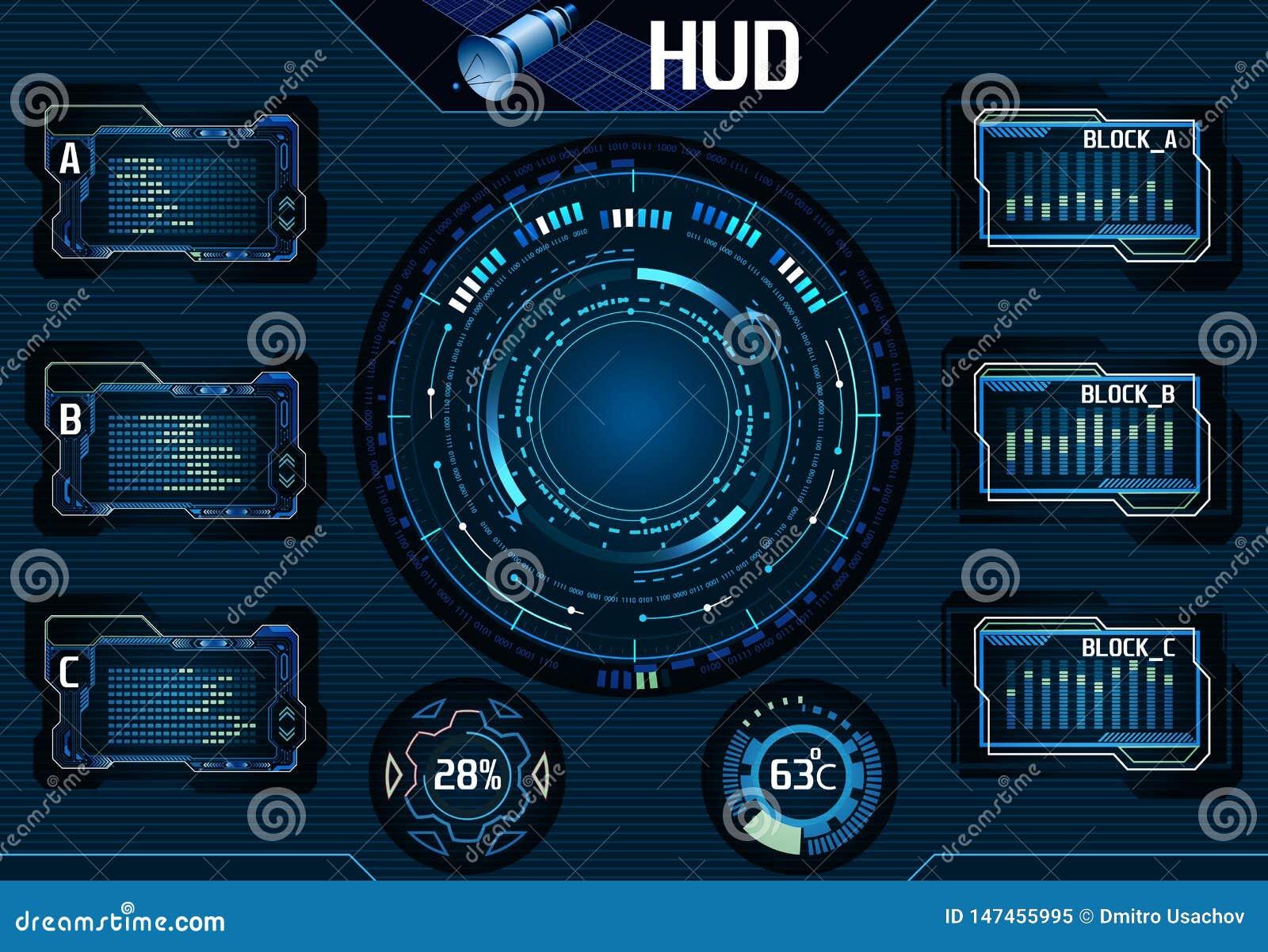 Elementos satélites de HUD UI Infographic Relação gráfica da tecnologia - ilustração