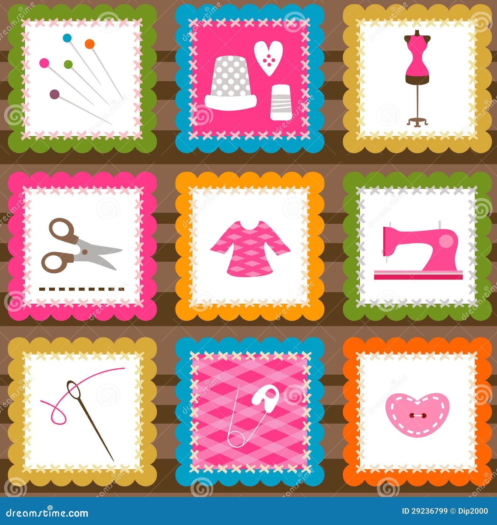 Download Elementos Sewing ilustração do vetor. Ilustração de textura - 29236799