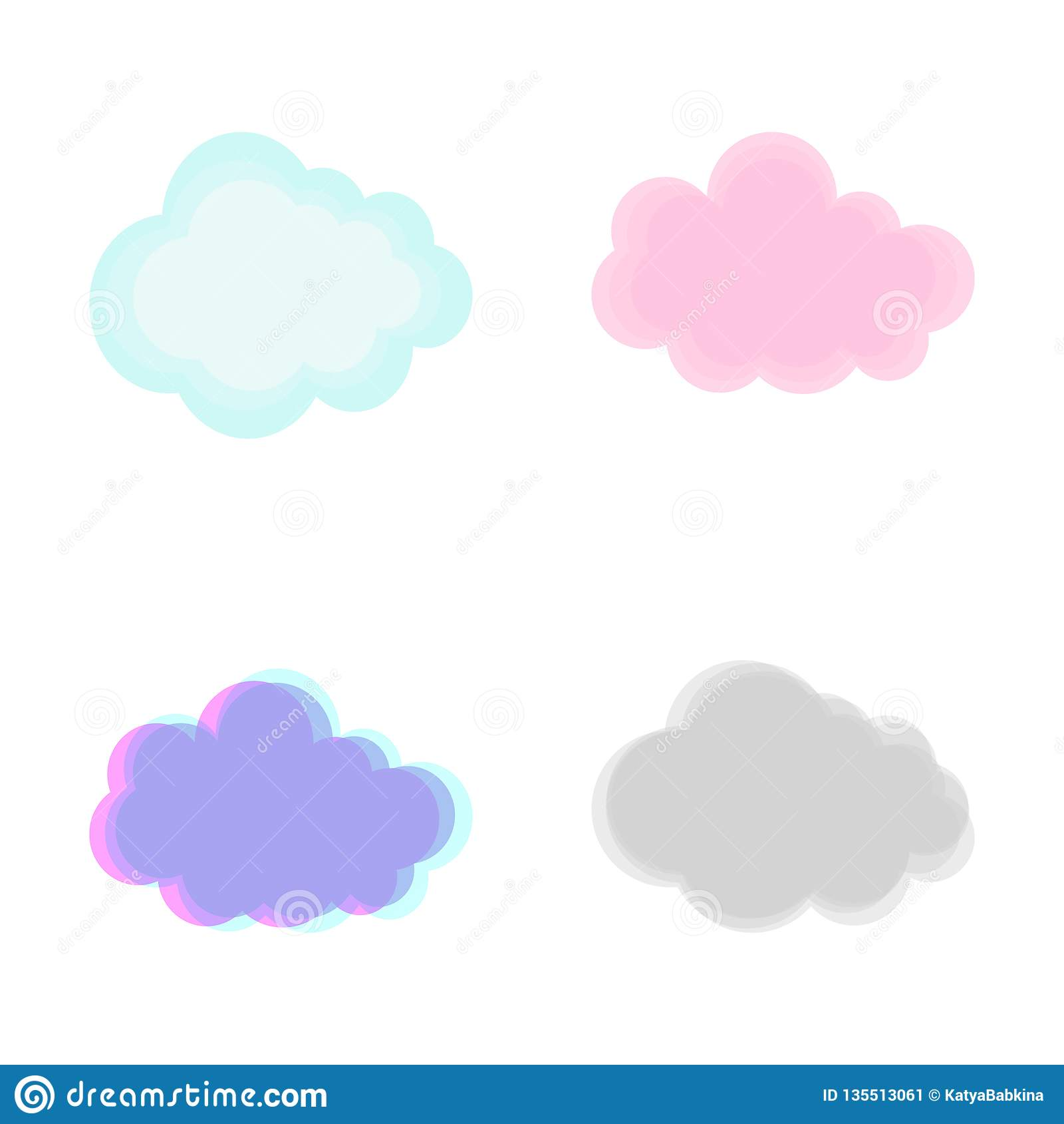 Vector Set Of Various Drawn Clouds Isolated On White Background
