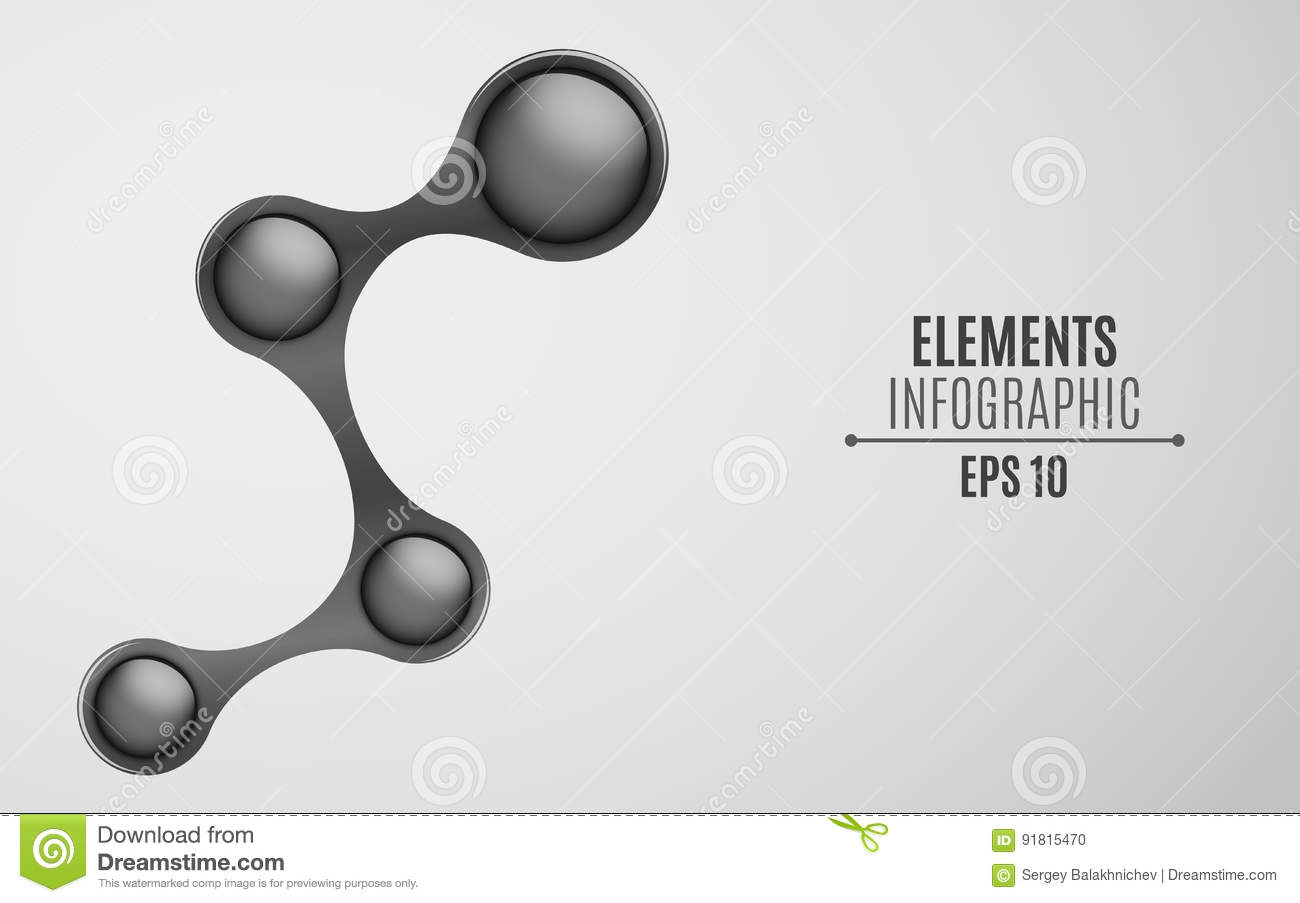 Elements for infographics in the style metaball. An empty space for your web, business projects. Glossy glossy balls in black. Vec