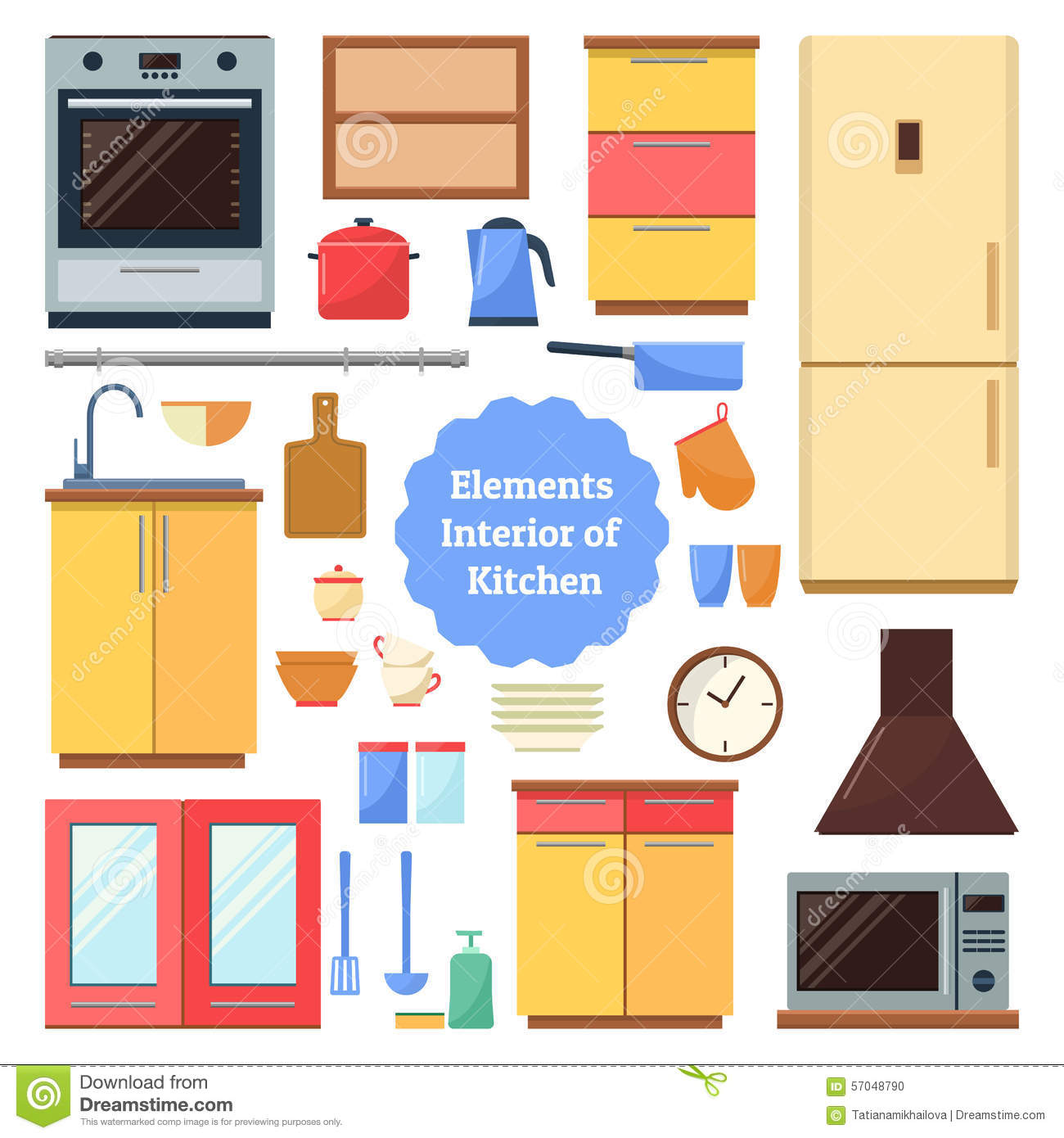 Elements Of The Interior Kitchen Stock Vector