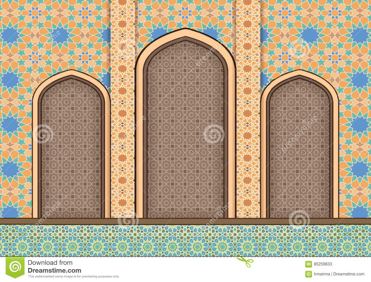 elements of islamic architecture ornamental background stock vector