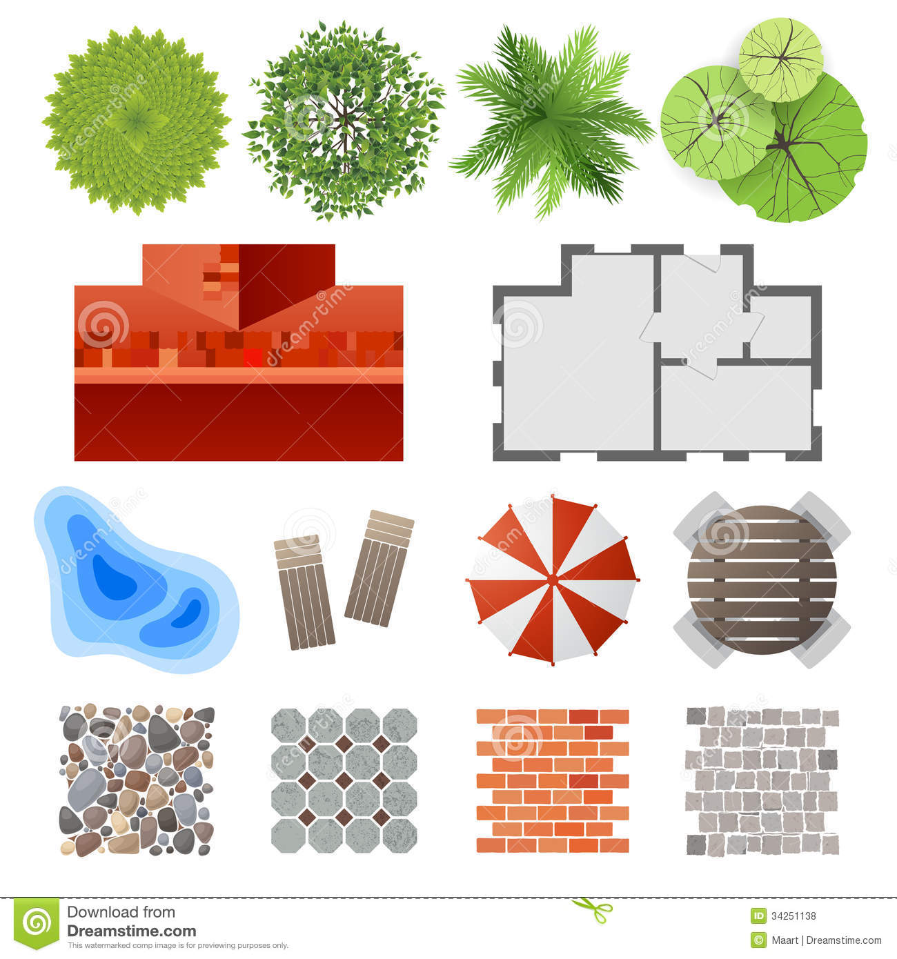 Elements for landscape design stock vector image 34251138 - Critical elements for a backyard landscaping ...