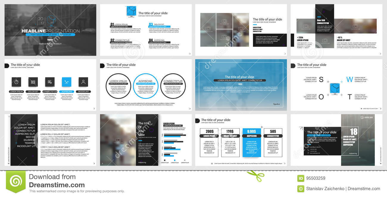 Elements For Powerpoint Presentation Templates Stock Vector Illustration Of Document Keynote 95503259