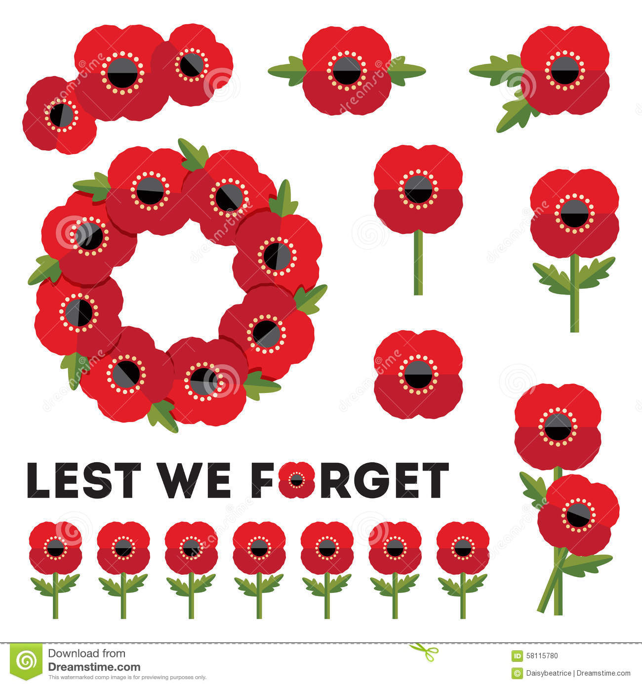 white for Anzac Day and Remembrance Day with red poppies, poppy wreath ...
