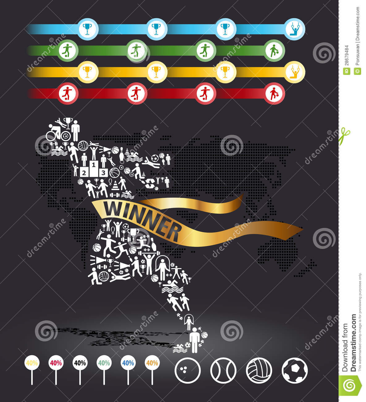 Elements are small icons sports make in active running man shape