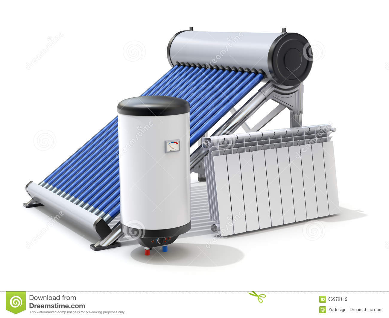 Elements Of Solar Heating System Stock Illustration