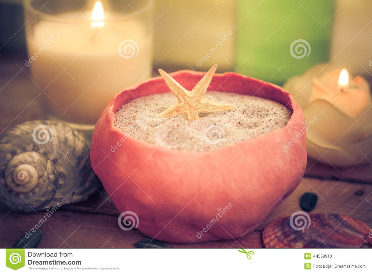 Elements spa treatments scented candles stock photo for Spa smelling candles