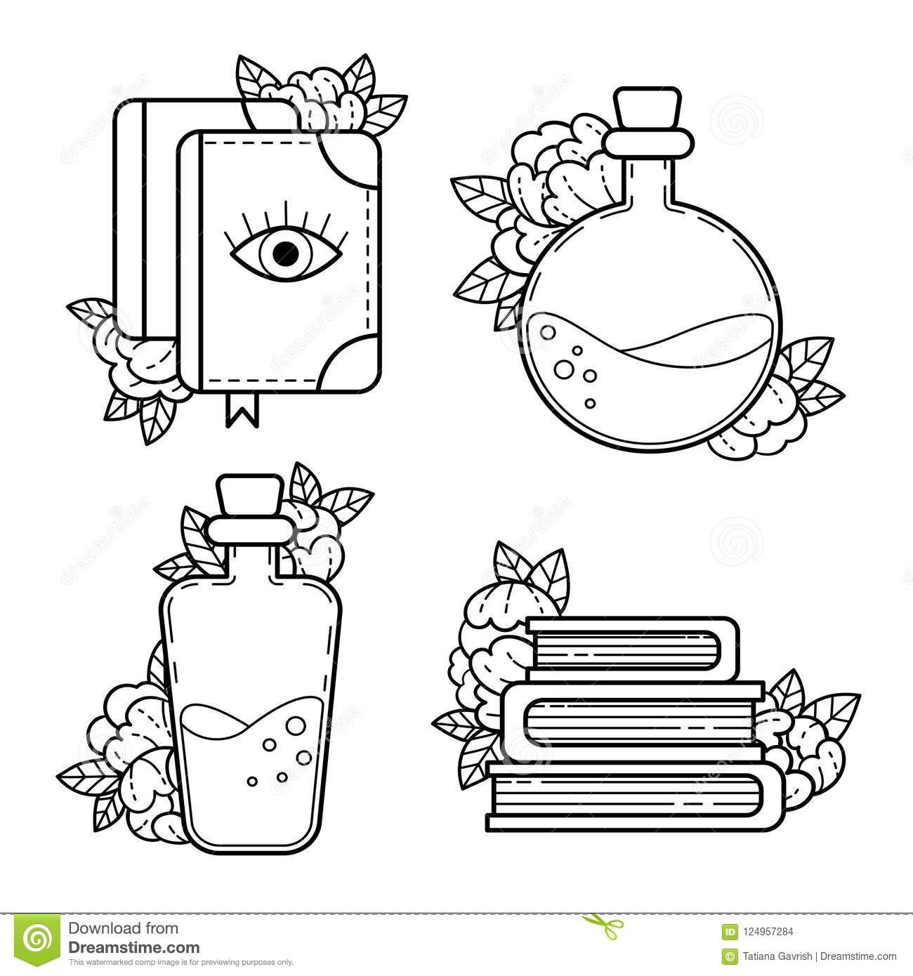 Elements Of Witchcraft  Contour Drawing  Stock Vector