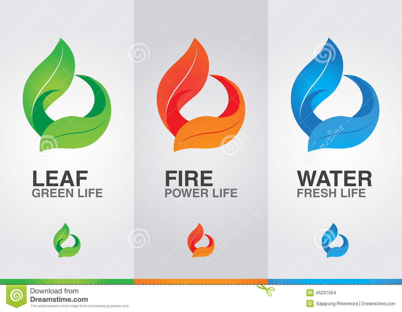 Three Elements Of Design : Elements of the world leaf fire water stock photo