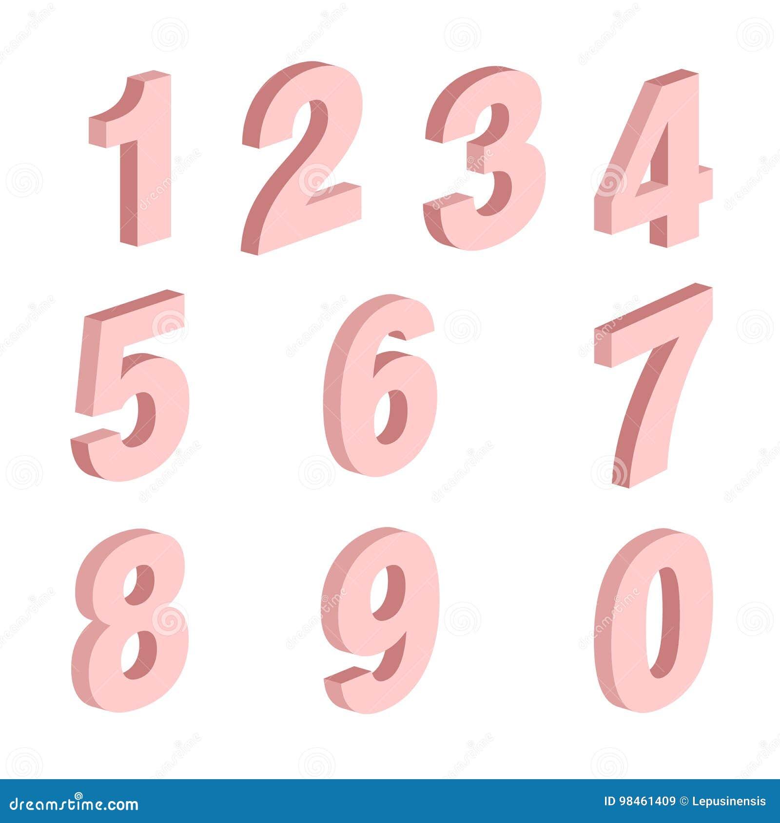 Elementsatz von Form mit zehn Zahlen null bis neun, Zahldesign
