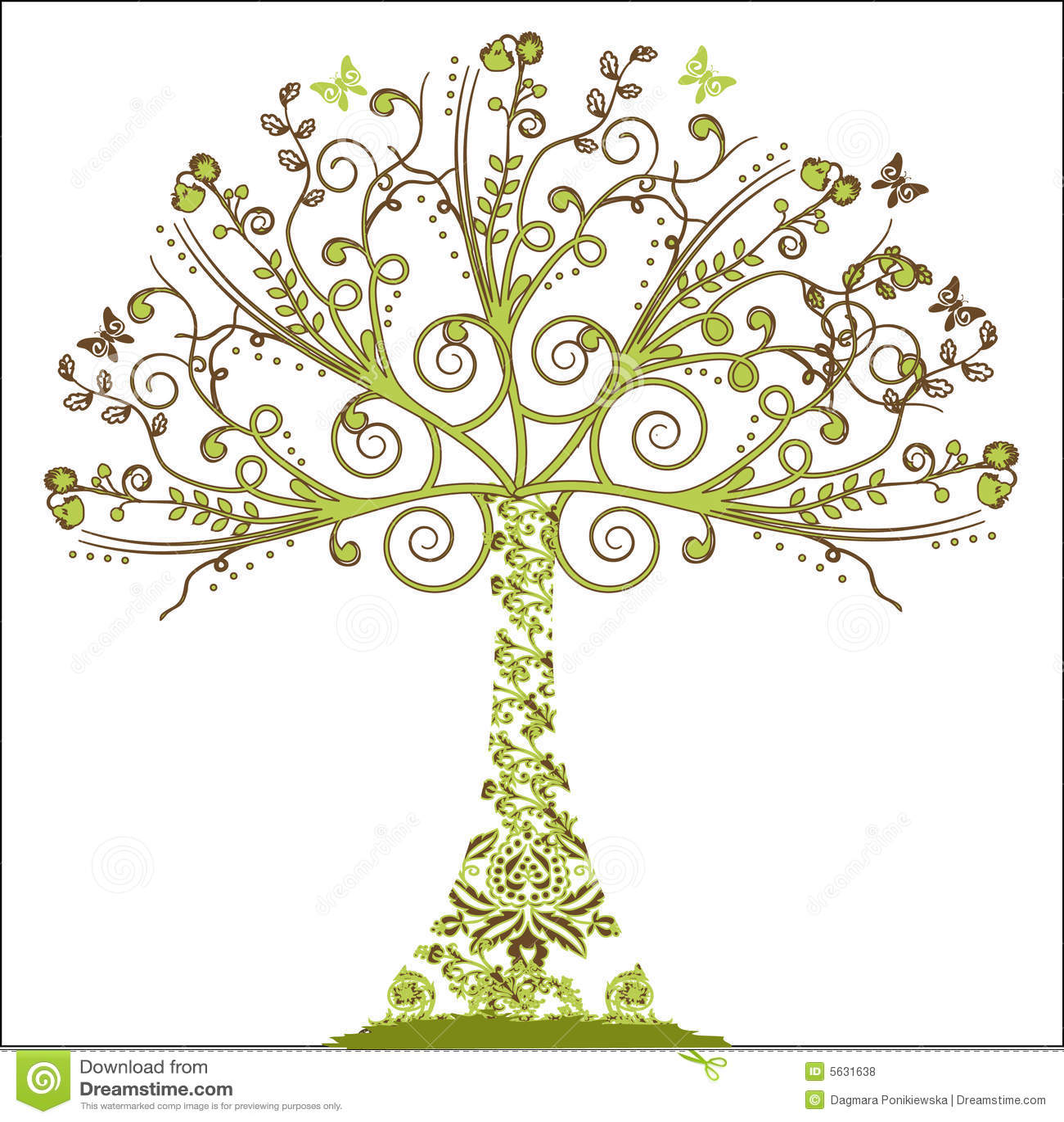 Elementy drzewny kwiecisty wektora