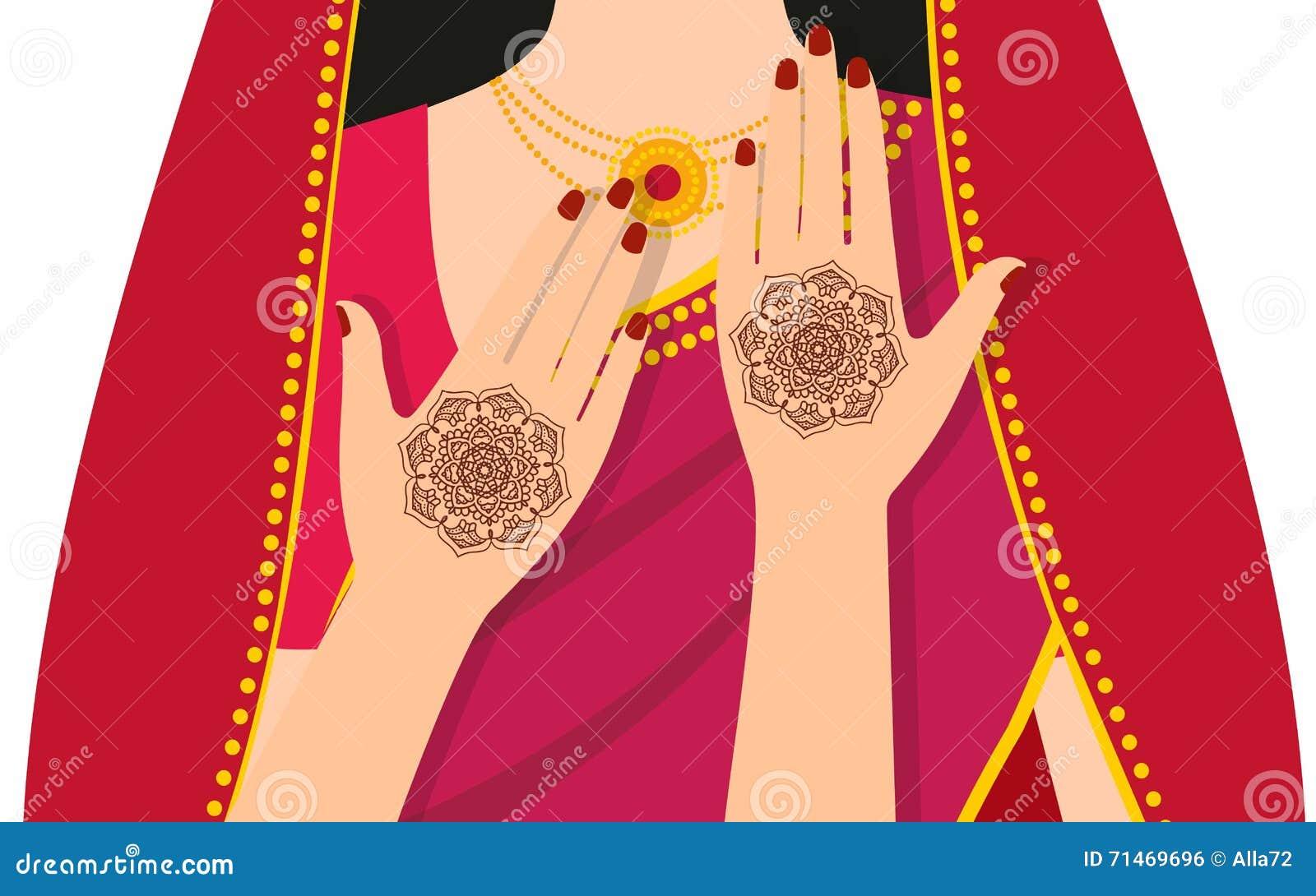 Elementyoga mudra Hände mit mehndi Mustern Vector Illustration für ein Yogastudio, Tätowierung, Badekurorte, Postkarten, Andenken