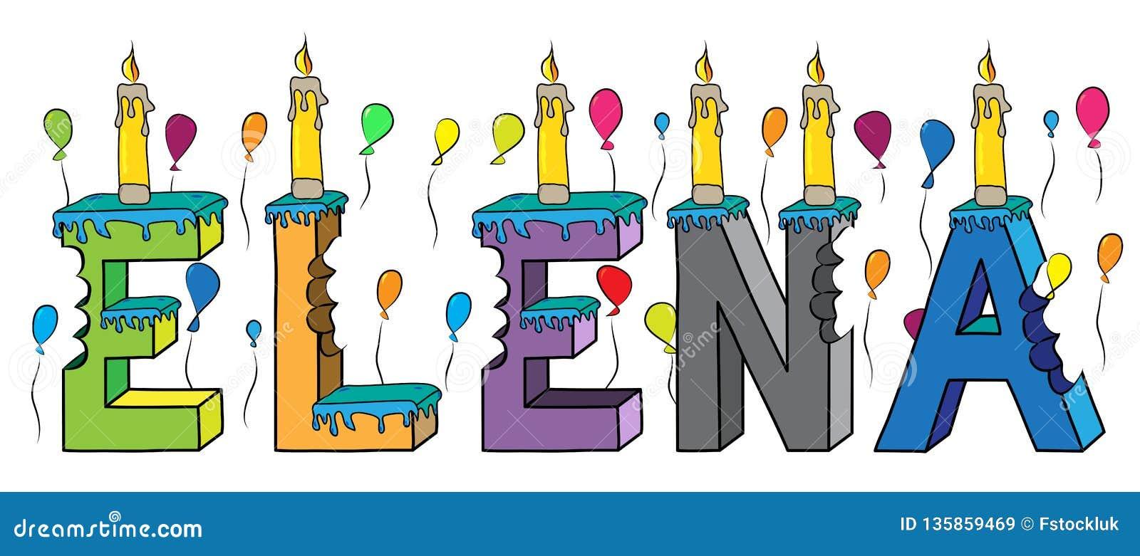 Elena nome fêmea 3d colorido mordido que rotula o bolo de aniversário com velas e balões