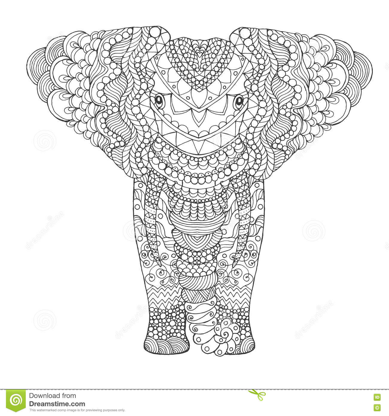 Elephant. stock vector. Illustration of hand, page, doodle - 75604701