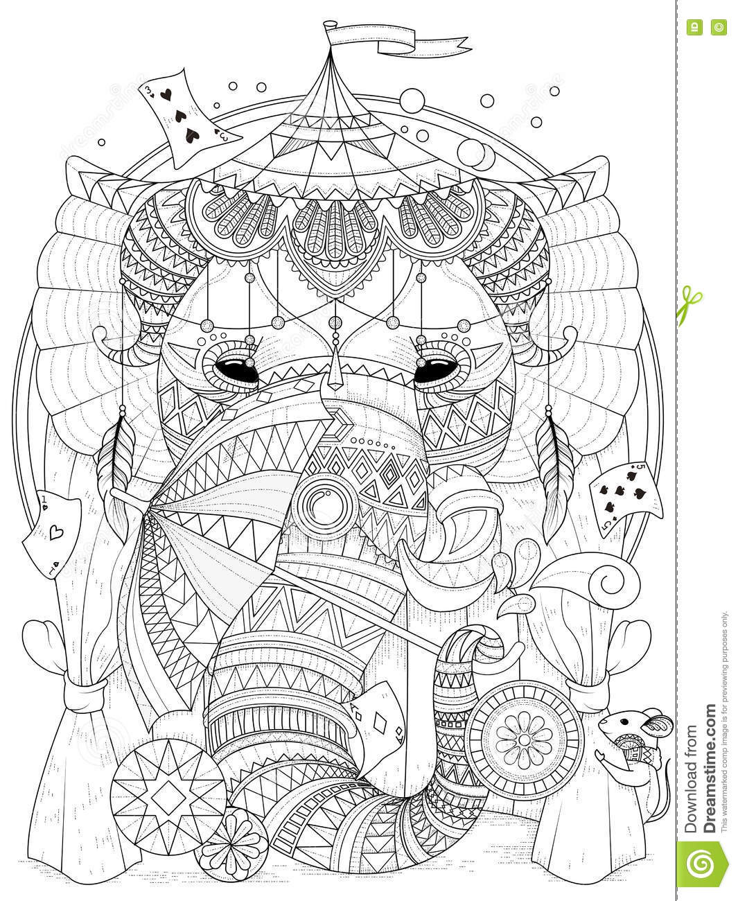Elephant adult coloring page stock illustration for Clown coloring pages for adults
