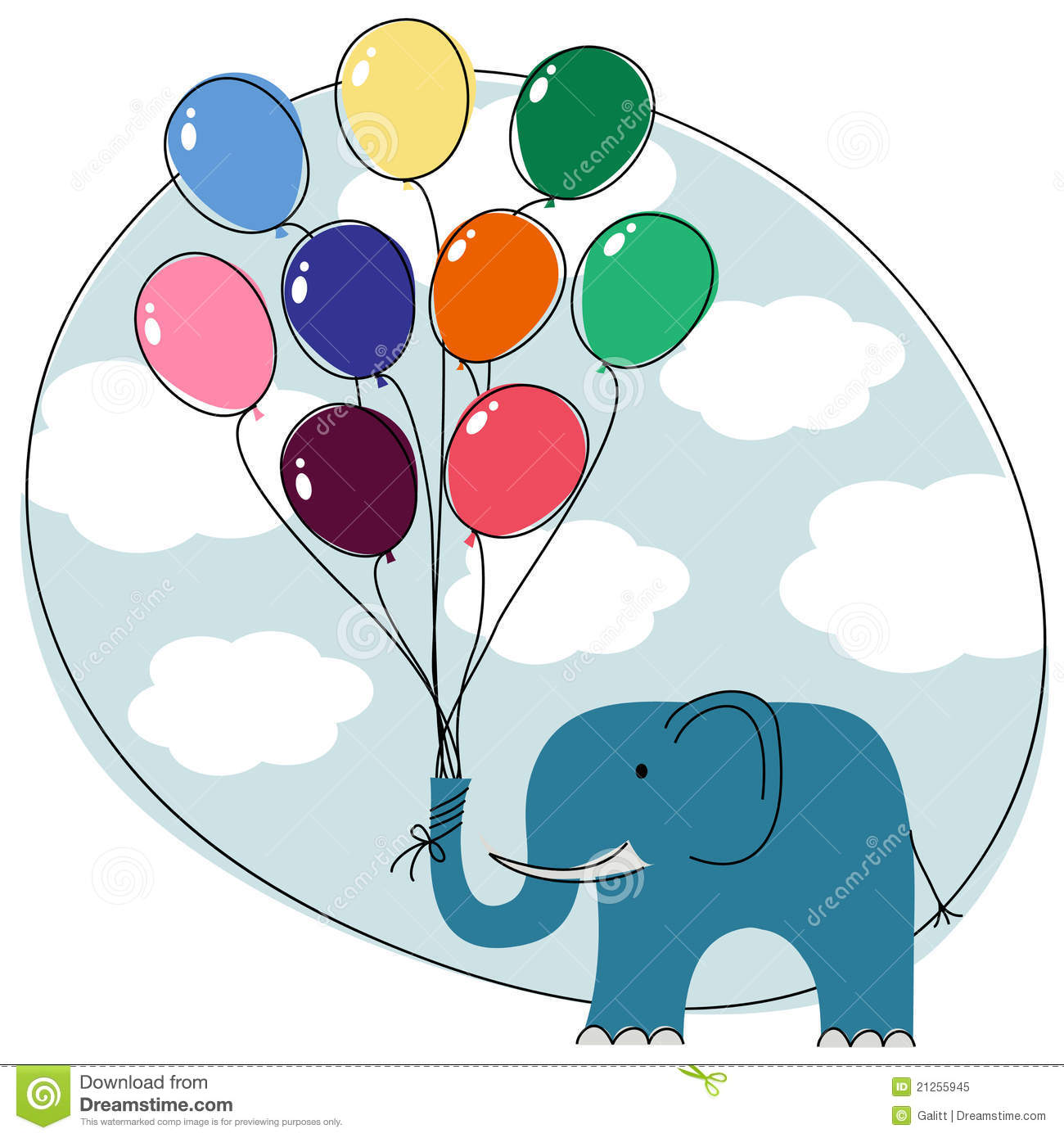 elephant with balloons stock vector image of balloon