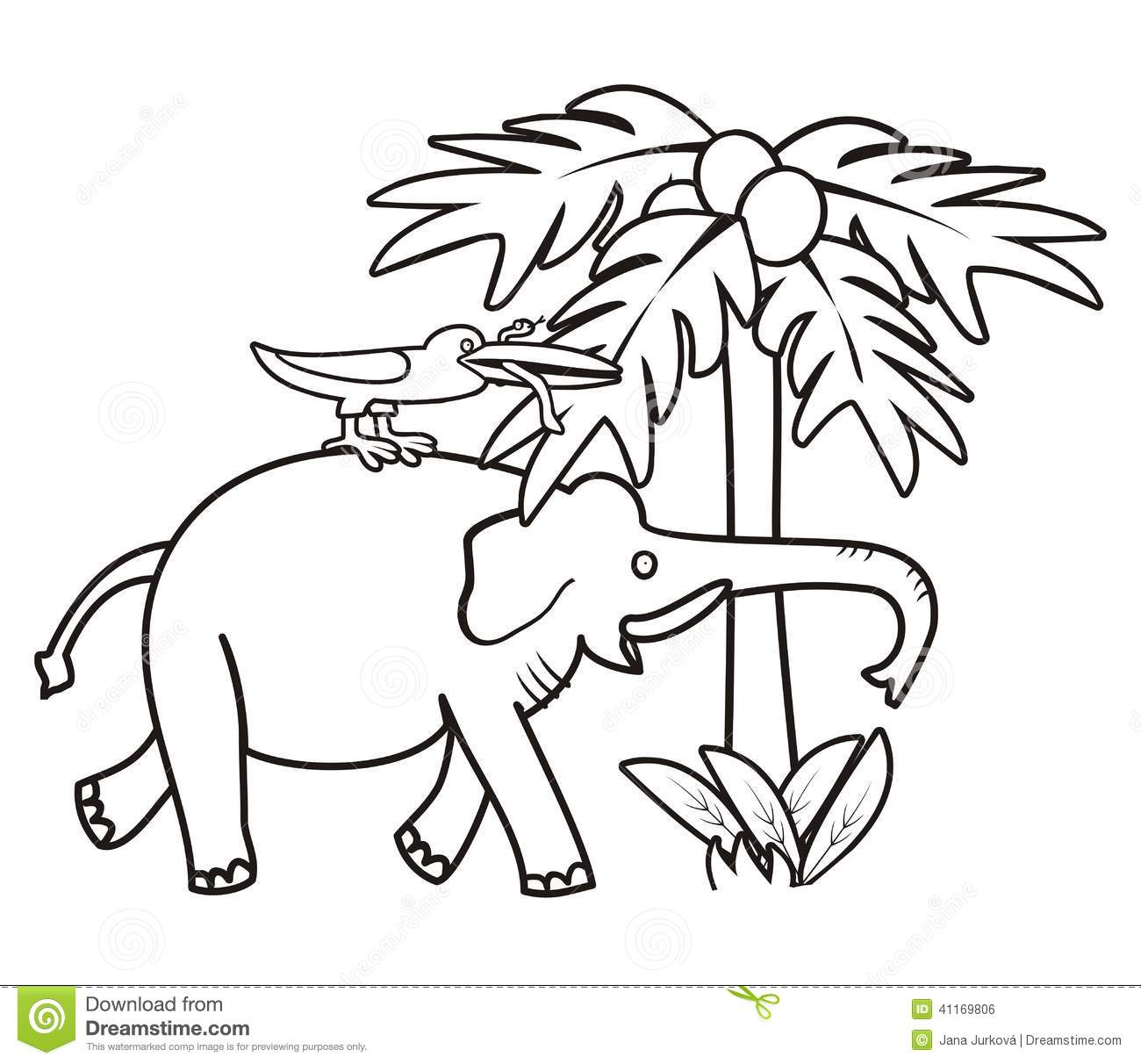 Elephant And Bird - Coloring Book Stock Vector - Illustration of ...