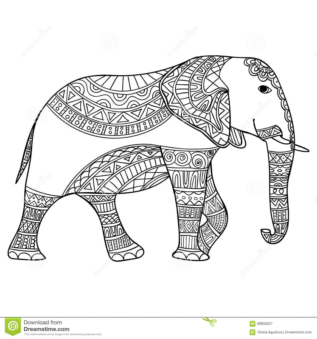 Elephant Black And White Doodle Print With Ethnic Patterns ...