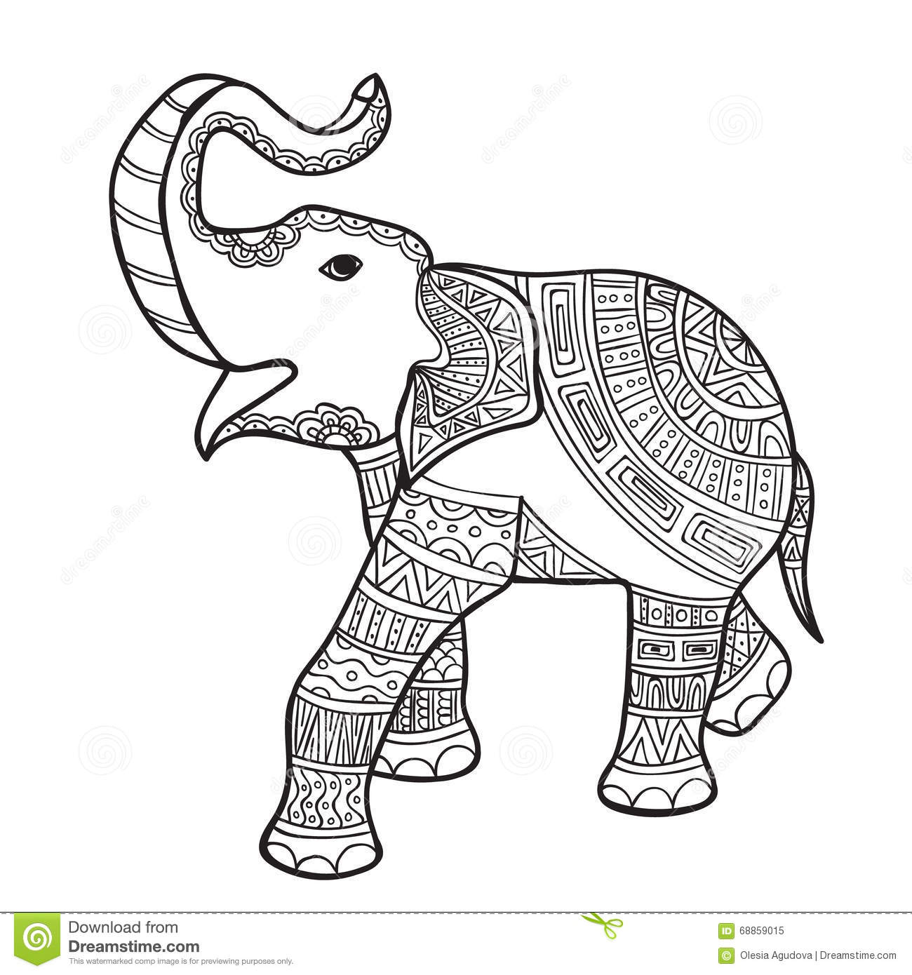 Elephant Black And White Doodle Print With Ethnic Patterns Stock