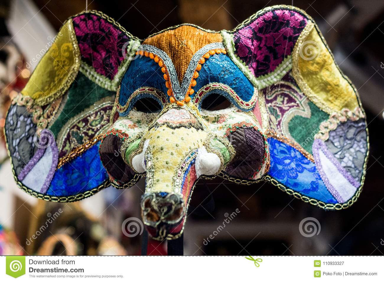 Elephant Carnival mask stock image. Image of medieval - 110933327