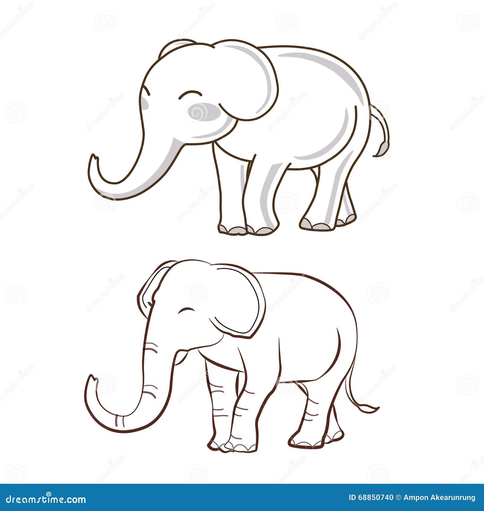 2 elephant cartoon stock vector. Illustration of element ...
