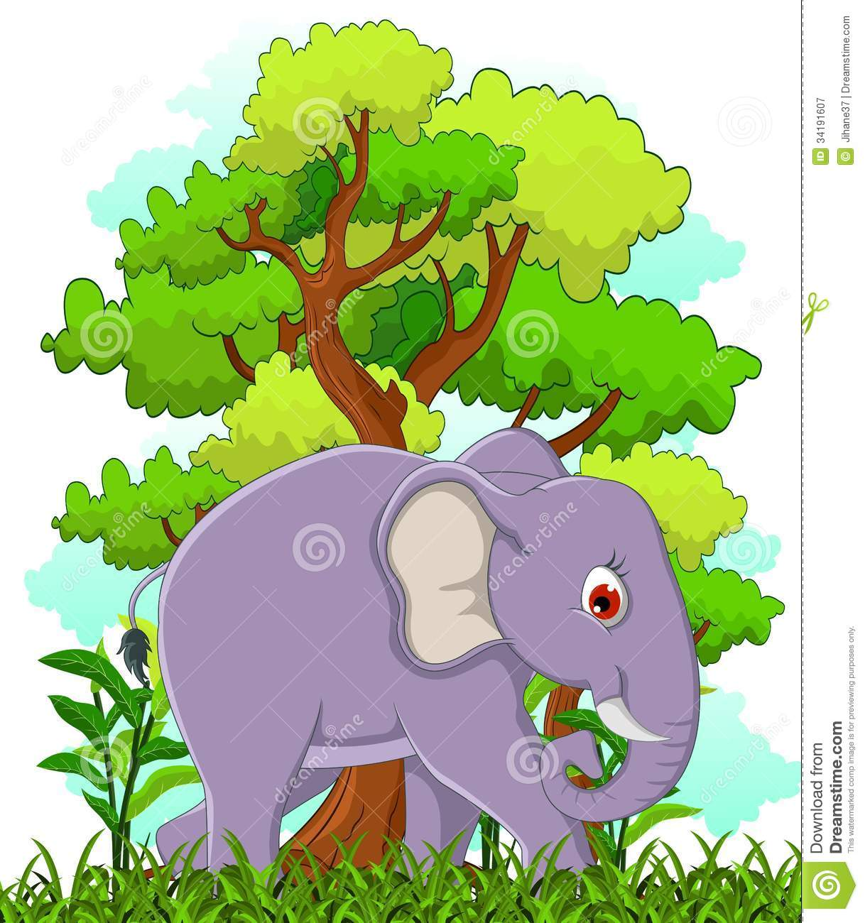 Elephant Cartoon With Forest Background Royalty Free Stock ... Coconut Tree Rainforest