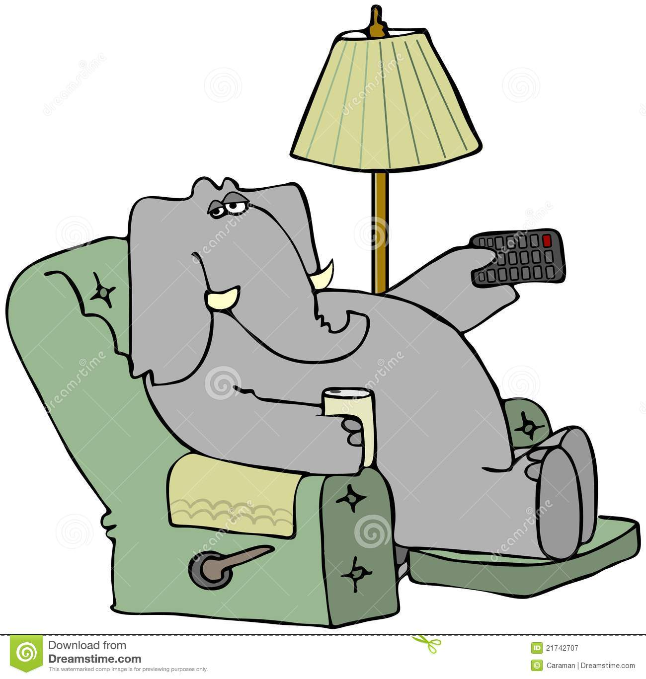 Elephant In A Chair With A Remote Stock Illustration ...