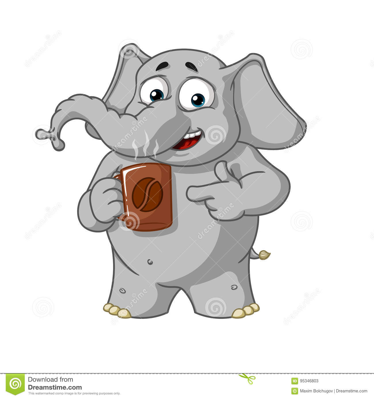 Elephant Character Coffee Break Offers A Cup Of Coffee Big Collection Of Elephants Vector Cartoon Stock Vector Illustration Of Restaurant Espresso 95346803
