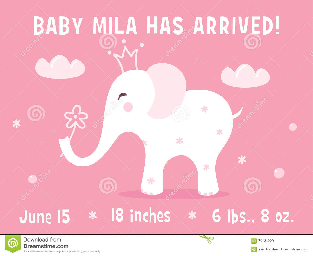 baby girl birth announcement template - Free Baby Announcement Templates