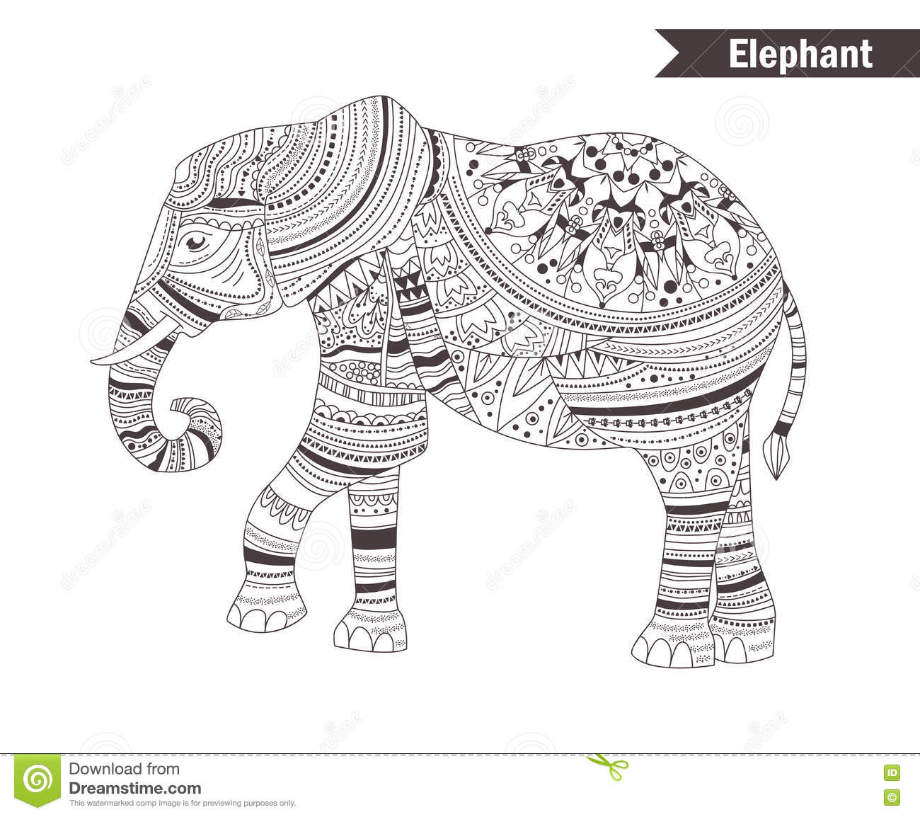 Elephant. coloring book stock vector. Illustration of abstract ...
