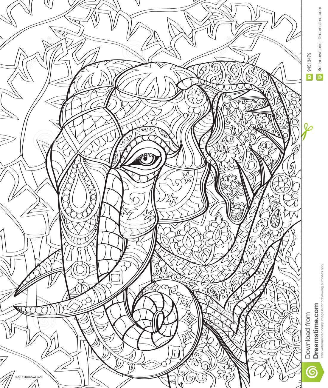 Elephant Coloring Book Page Stock Illustration Illustration Of Coloring Design 94513479