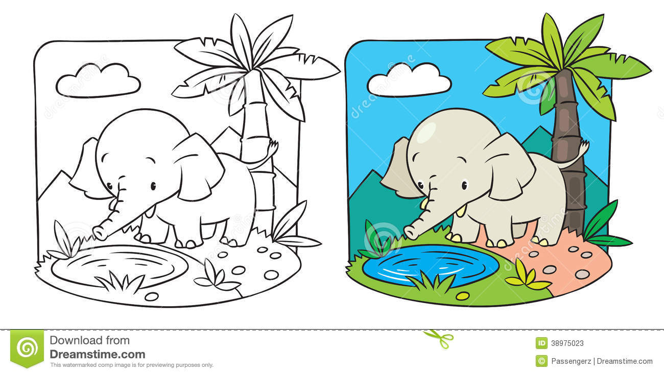 Elephant. Coloring book stock vector. Illustration of contour - 38975023