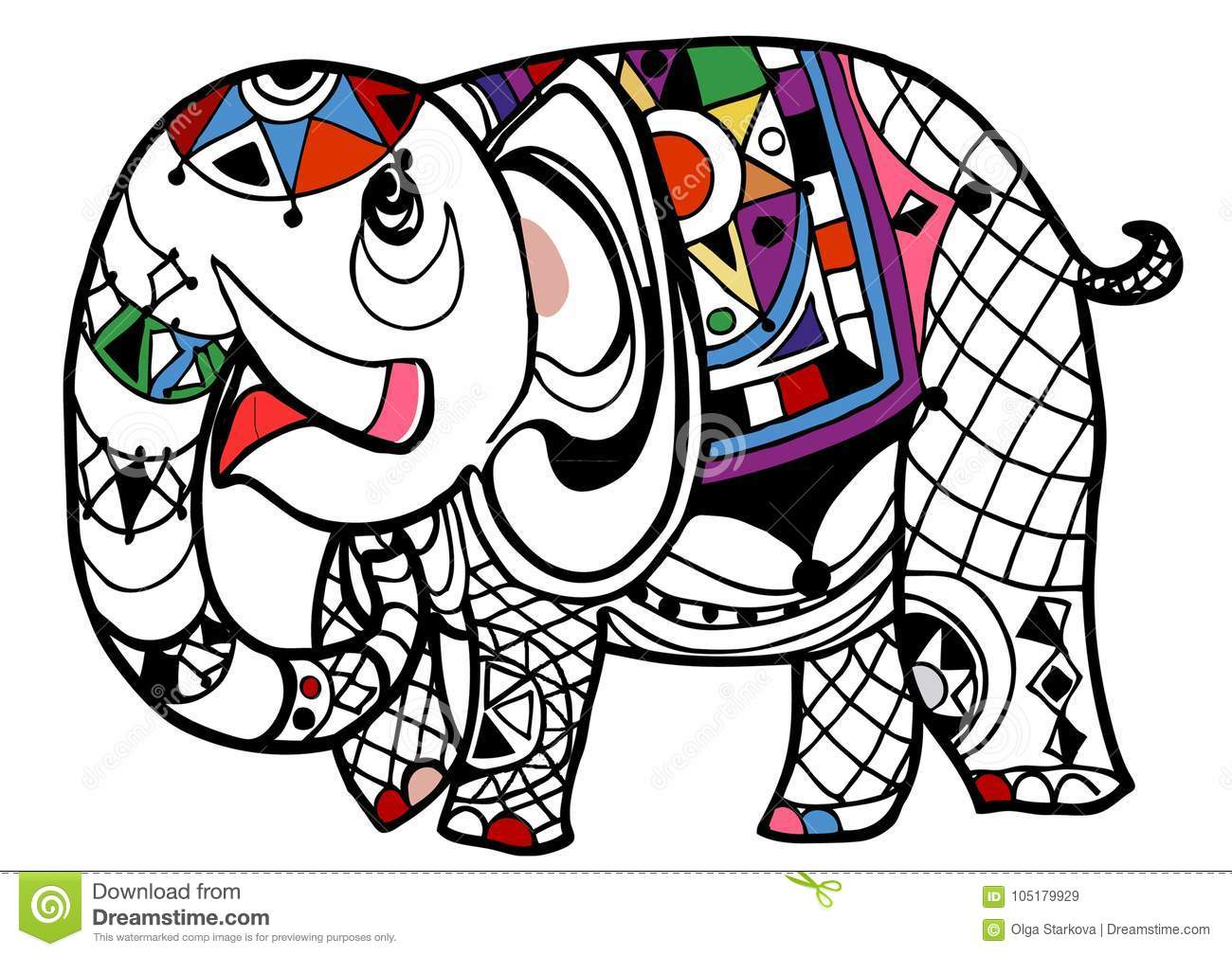 - Elephant Coloring Book Stock Vector. Illustration Of Design