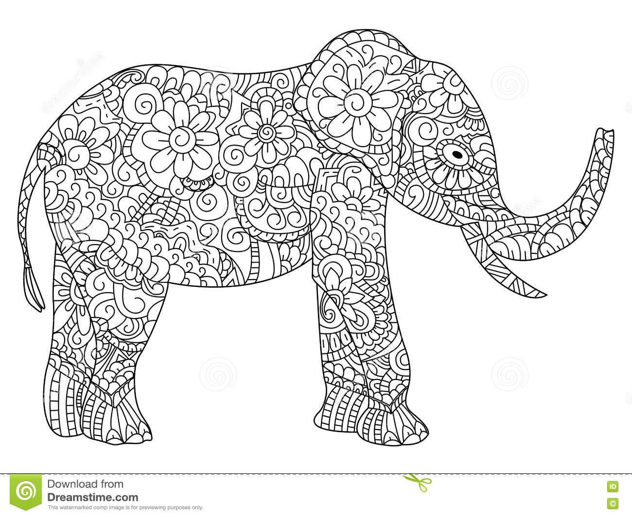 Elephant Coloring Book Vector For Adults Stock Vector Illustration
