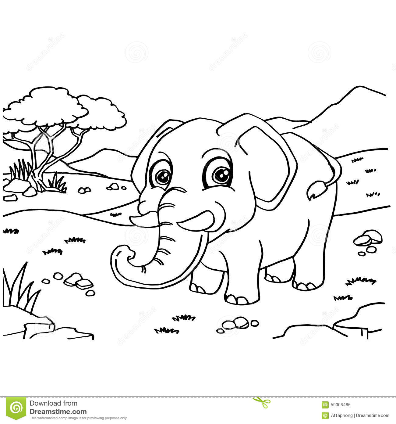 elephant coloring pages vector stock vector image 59306486