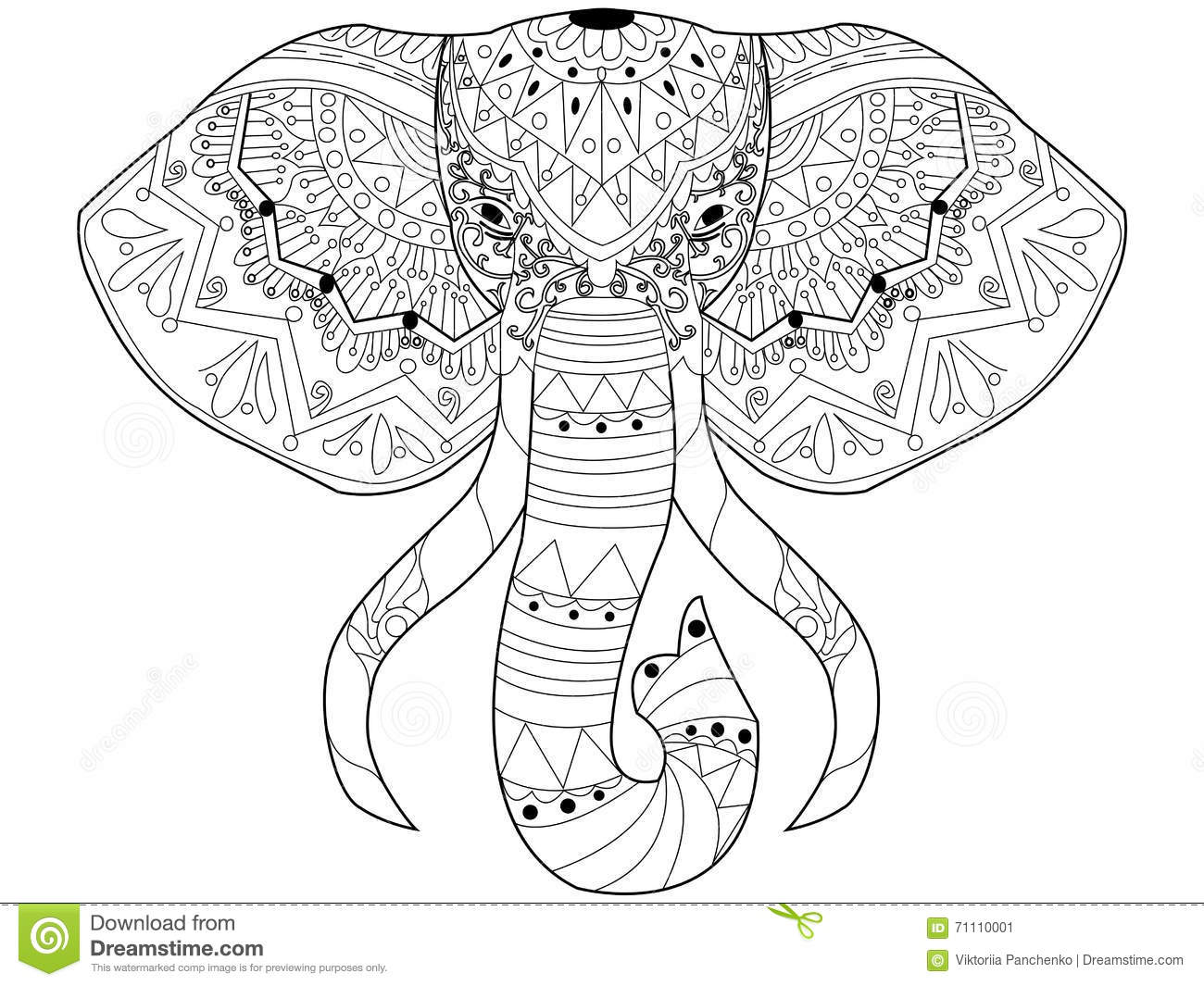 Elephant Coloring Vector For Adults Stock Vector Illustration Of