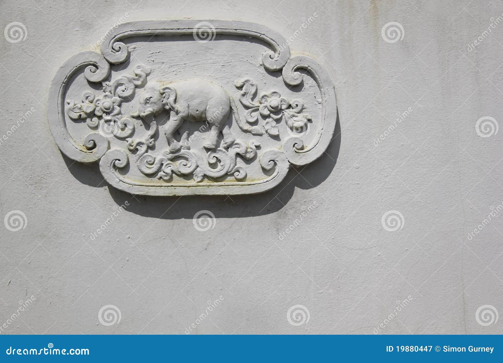 Elephant decoration temple wall thailand