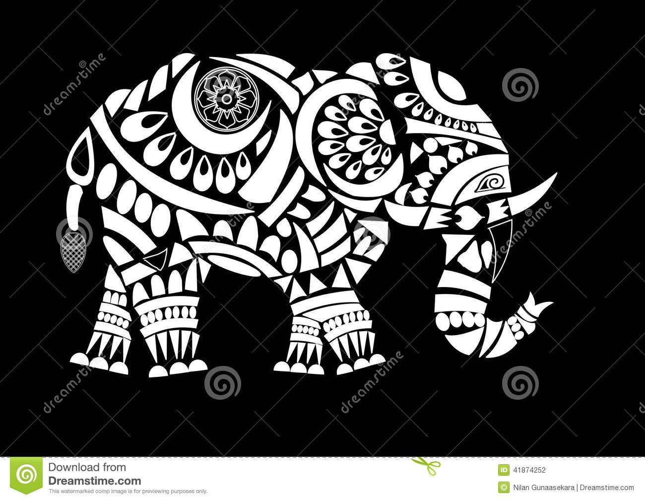 line art elephant design white fill with some flower designs