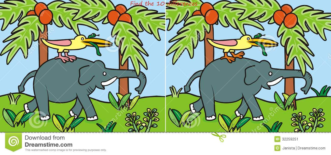 Elephant-10 Difference Stock Image - Image: 32259251