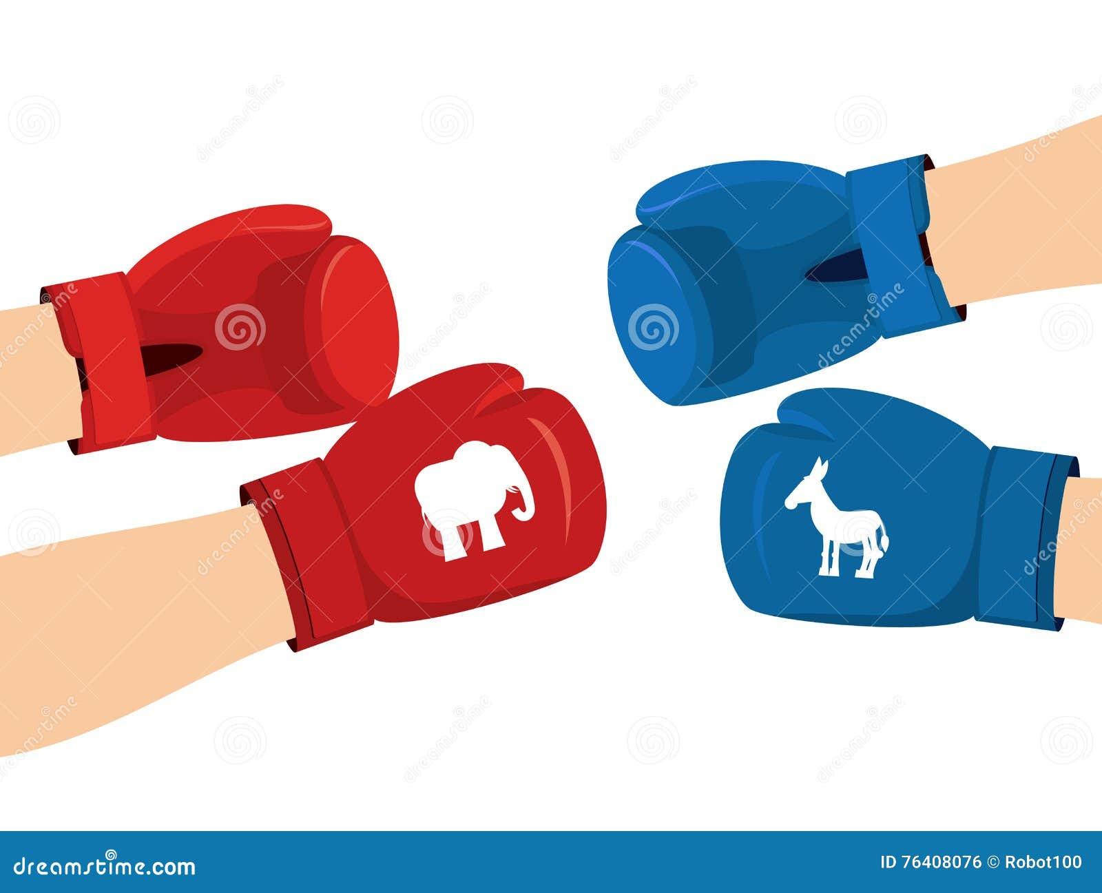 Boxing Democrat Donkey Elephant Political Republican States United Usa