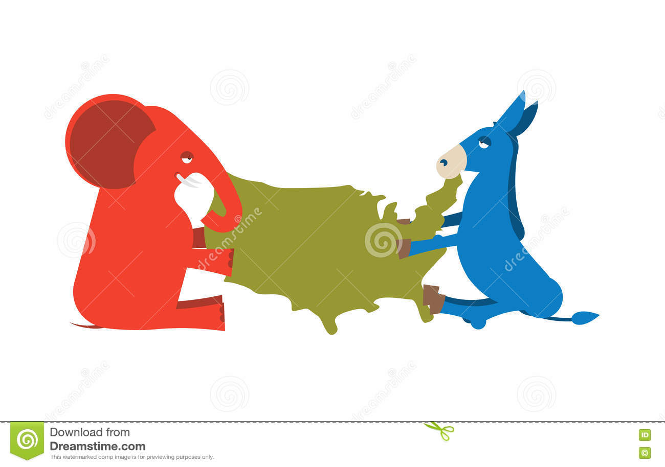 Political Party Map Of The United States.Elephant And Donkey Divided Map Of America Usa Political Party