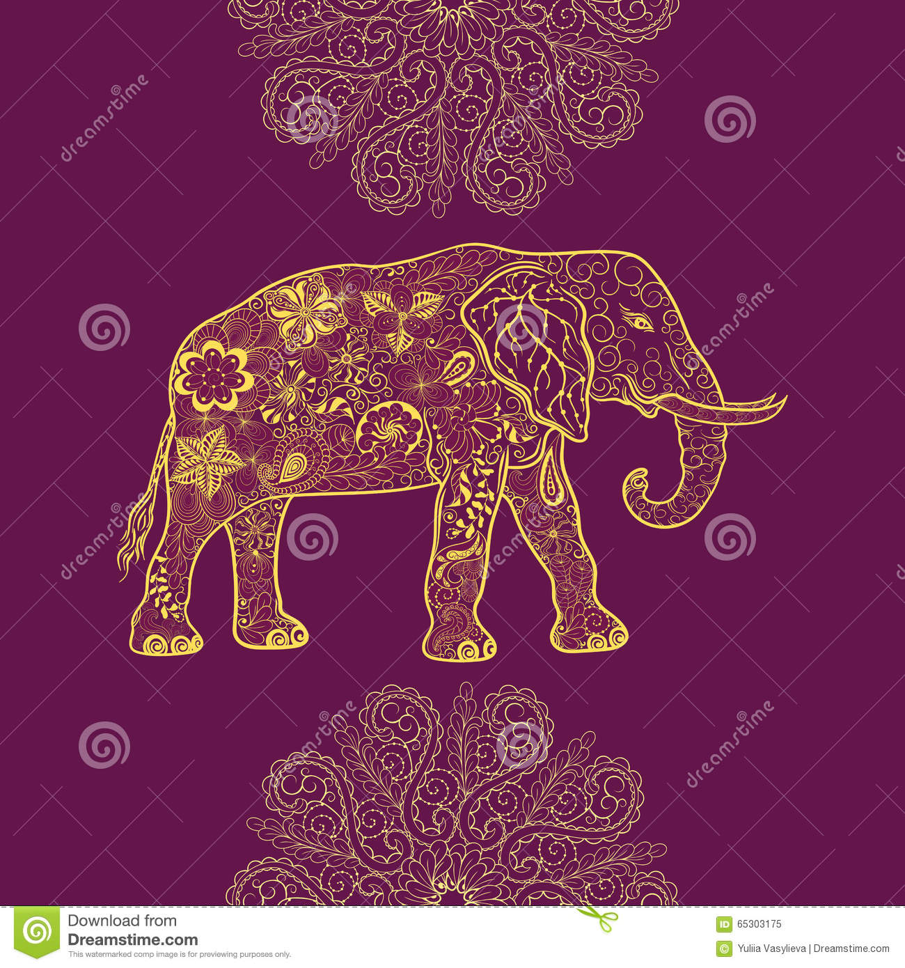 Elephant Doodle Stock Vector Illustration Of Nature