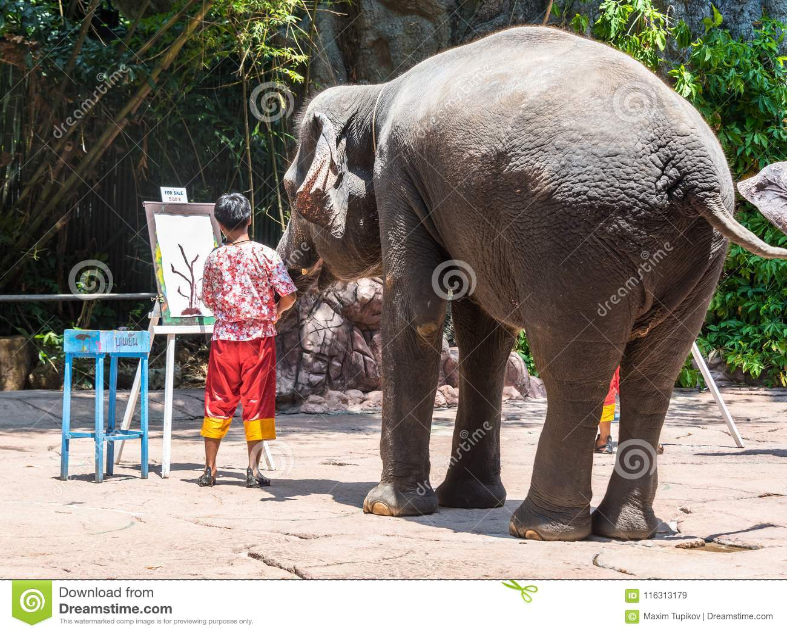 Elephant drawing at Safari World Park on March 31, 2015 in Bangkok, Thailand