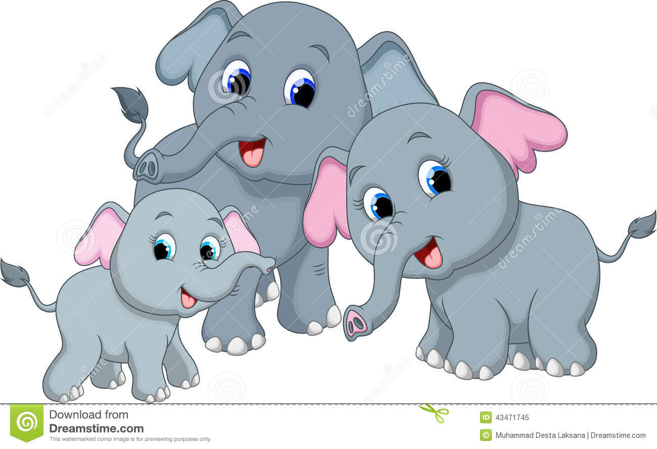 Elephant Family Cartoon Stock Illustration Illustration