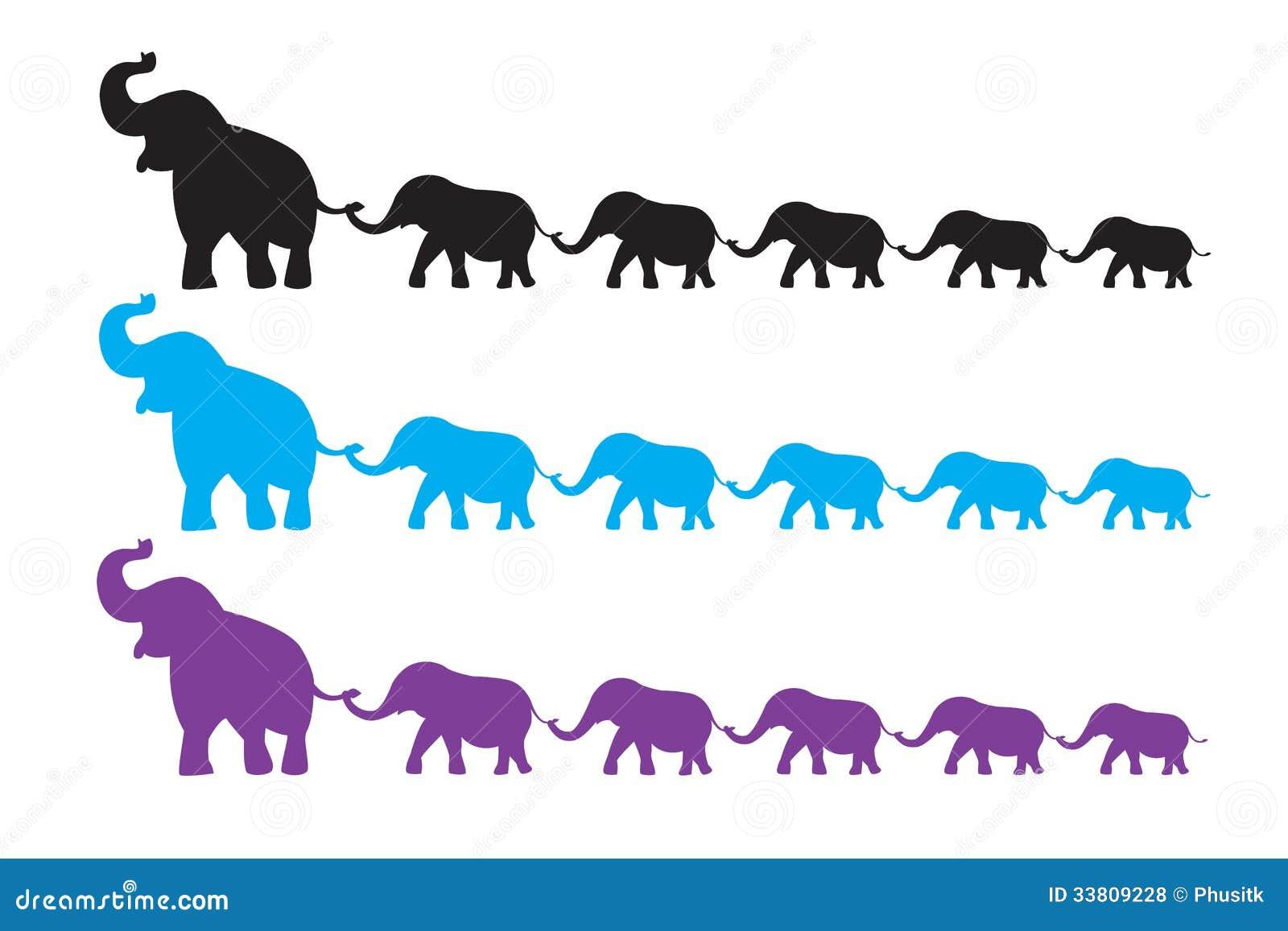 Elephant Family Walk Royalty Free Stock Photos - Image: 33809228