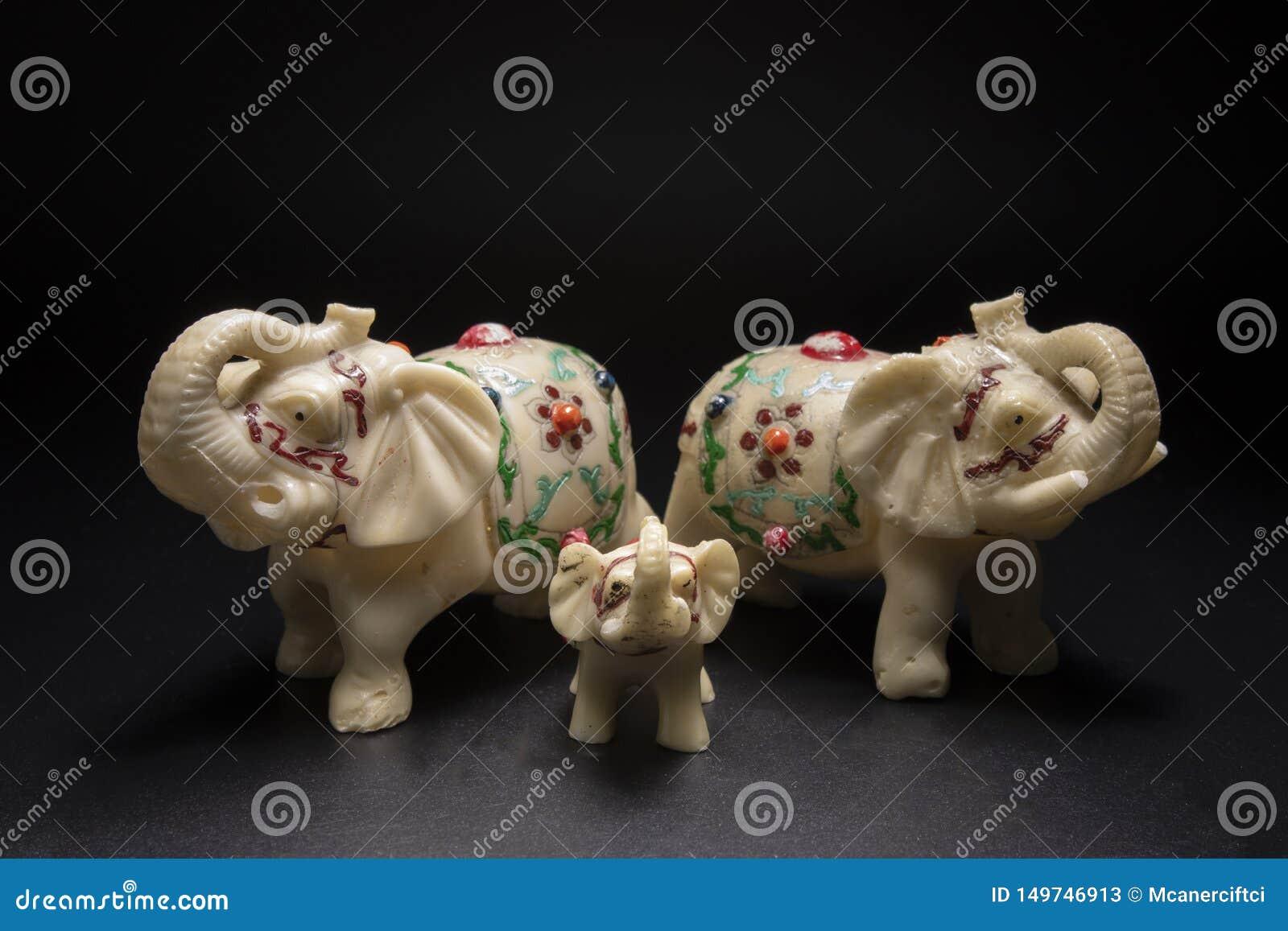 Elephant family white.