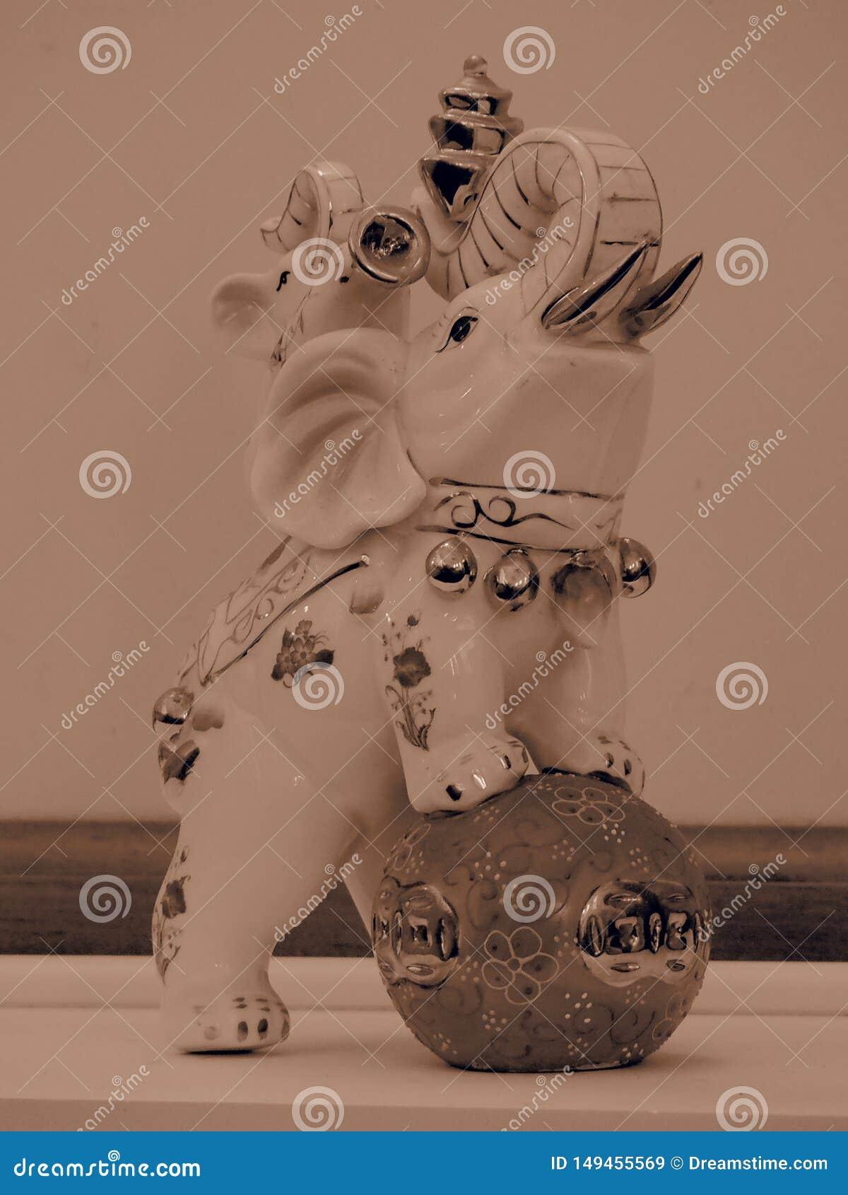 Elephant Figurine with Sepia filter